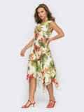 Асимметричное платье из шатапеля с цветочным принтом желтое 54026, фото 2