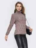 Ажурный свитер с высоким воротником и манжетами серый 42044, фото 2