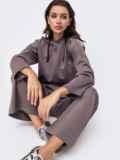 Брючный костюм коричневого цвета с кофтой 51314, фото 2