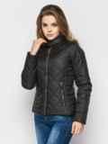 Черная куртка с воротником на кнопке 12937, фото 2