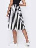 Черная расклешенная юбка в полоску на пуговицах 49529, фото 2