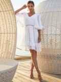 Расклешенное платье из хлопка с объемными рукавами белое 54131, фото 2