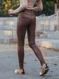 Коричневые утепленные лосины без застёжек   51678, фото 2