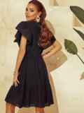 Черное платье с широким воланом по подолу 53950, фото 4
