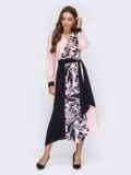 Платье с принтом и асимметричным подолом пудровое 53074, фото 1