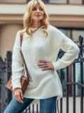 Молочный вязаный свитер с разрезами по бокам 50410, фото 3