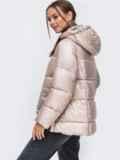 Зимняя куртка с воротником-стойкой и капюшоном пудровая 50220, фото 2