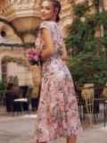 Пудровое платье с цветочным принтом и фигурным вырезом 54464, фото 4