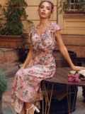 Пудровое платье с цветочным принтом и фигурным вырезом 54464, фото 1