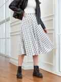 Белая юбка А-силуэта в клетку с карманами 53554, фото 2