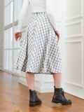 Белая юбка А-силуэта в клетку с карманами 53554, фото 3