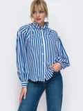 Блузка из софта в полоску синего цвета 49532, фото 2