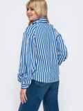 Блузка из софта в полоску синего цвета 49532, фото 3