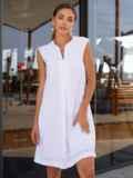 Белое платье-трапеция со встречными складками по полочке 54005, фото 2