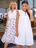 Белое платье-трапеция со встречными складками по полочке 54005, фото 1