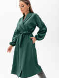 Свободное платье-пиджак с шалевым воротником зеленое 55194, фото 2