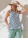 Блузка в полоску с разрезами по бокам зеленая 49205, фото 2