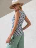 Блузка в полоску с разрезами по бокам зеленая 49205, фото 3
