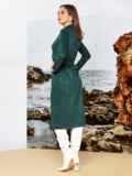 Зелёное платье на запах из замши с широкими лацканами 42197, фото 2