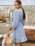 Короткое платье из прошвы с расклешенной юбкой голубое 54132, фото 2