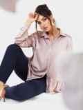 Костюм батал из шелковой блузки пудрового цвета и брюк 53611, фото 2