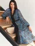Платье из шифона с принтом и V-образным вырезом синее 55055, фото 1