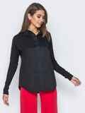 Рубашка из стрейч-коттона и рубашечной ткани черная 14568, фото 1