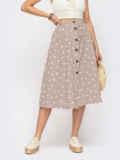 Расклешенная юбка-миди в горох на пуговицах бежевая 54303, фото 1