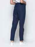 Спортивные штаны с завышеной талией на резинке синие 21854, фото 3