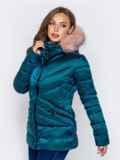Зимняя куртка со съёмным капюшоном зеленая 40171, фото 2