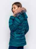 Зимняя куртка со съёмным капюшоном зеленая 40171, фото 3