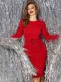 Платье с нитью люрекса и разрезом сзади красное 42762, фото 2