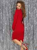 Платье с нитью люрекса и разрезом сзади красное 42762, фото 3