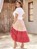 Трехцветное платье батал с коротким рукавом на пуговицах 54393, фото 4