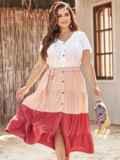 Трехцветное платье батал с коротким рукавом на пуговицах 54393, фото 1