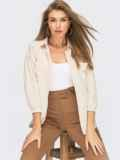 Бежевая блузка из штапеля с карманами 54656, фото 1