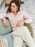 Льняная блузка розового цвета без застежек 54657, фото 1