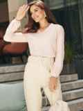 Льняная блузка розового цвета без застежек 54657, фото 2