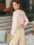Льняная блузка розового цвета без застежек 54657, фото 3
