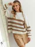 Молочный свитер свободного кроя в бежевую полоску 54891, фото 1