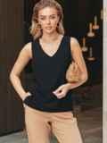 Черная блузка без рукавов из хлопка 54684, фото 2