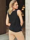 Черная блузка без рукавов из хлопка 54684, фото 3