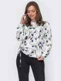 Шелковая блузка с принтом и кулиской сбоку белая 53632, фото 2