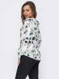 Шелковая блузка с принтом и кулиской сбоку белая 53632, фото 3