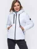 Укороченная куртка со вшитым капюшоном белая 50414, фото 2