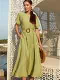 """Зеленое платье-клеш из льна """"жатка"""" с коротким рукавом 54235, фото 3"""