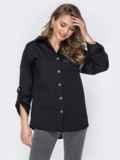 Черная рубашка свободного кроя с принтом на спинке 53542, фото 3