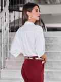 Белая блузка свободного кроя 40081, фото 3