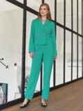 Брючный костюм с укороченным пиджаком бирюзовый 54866, фото 3