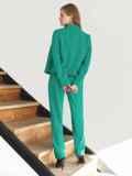 Брючный костюм с укороченным пиджаком бирюзовый 54866, фото 5